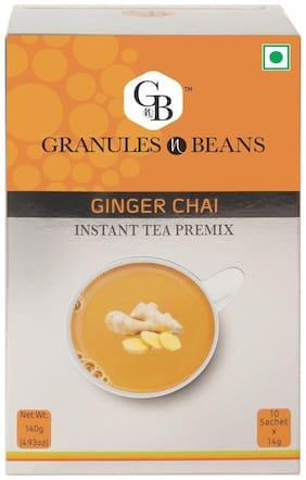 Granules and Beans Ginger (Adrak) Instant Tea Premix - (10 Sachetx14g=140g)