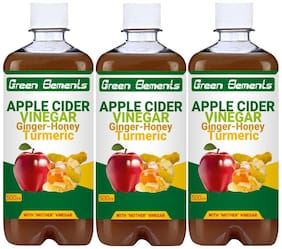 Green Elements - Apple Cider Vinegar & Ginger-Honey-Turmeric (Raw & Unrefined) with Mother Vinegar, 1500ml