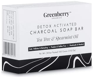Greenberry Organics Detox Activated Charcoal Soap Bar Tea Tree & Spearmint Oil 100g (Pack Of 1)