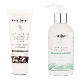 Greenberry Organics Bio-Active Tan Removing Exfoliating Scrub and 99% Pure Aloe Vera Hydro 3 in 1gel (Pack Of 2)