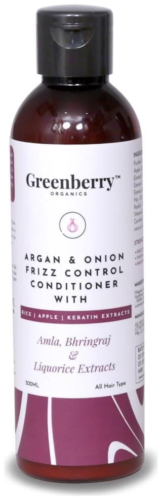 Greenberry Organics Argan & Onion Frizz Control Conditioner with Amla,Bhringraj & Liquorice Extracts with Rice,Apple & Keratine Extracts,200 g