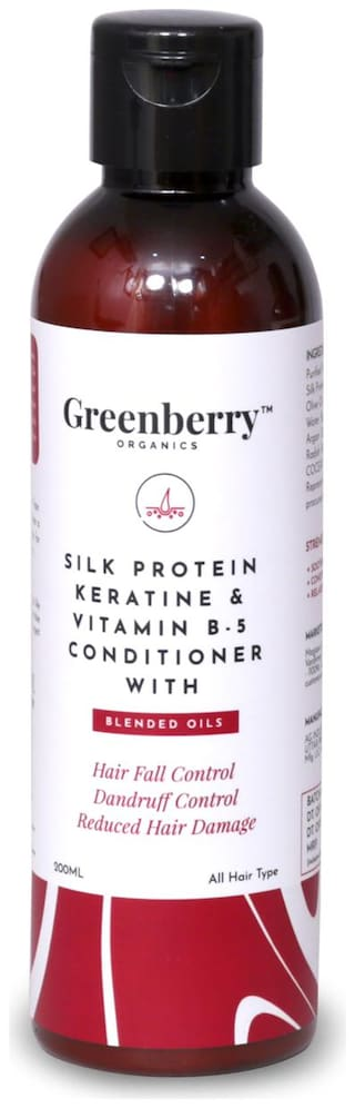Greenberry Organics Silk Protein,Keratin & Vitamin B-5 Conditioner with Blended Oils for Hair Fall Control,Dandruff Control,Reduced Hair Damage - 200 g