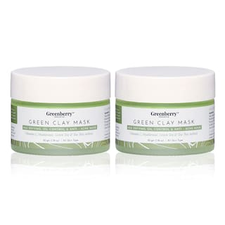 Greenberry Organics Brazilian Rainforestgreen Clay Mask;green Tea;Tea Tree;Vitamin C;50g (Pack of 2)