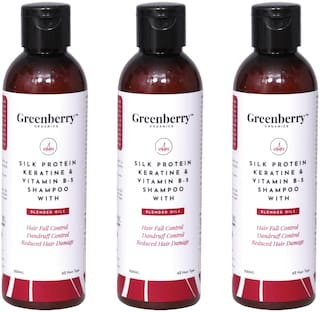Greenberry Organics Silk Protein,Keratin & Vitamin B-5 Shampoo with Blended Oils for Hair Fall Control,Dandruff Control,Reduced Hair Damage - 200 g Pack Of 3