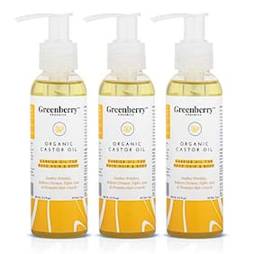 Greenberry Organics Organic Castor Oil For Face Care 120ml (Pack of 3)