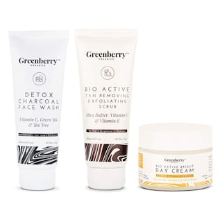 Greenberry Organics Perfect Sun Protection Combo with Detox Charcoal Face Wash;Tan Removing & Exfoliating Scrub & Bright Day Cream;120 ml + 120g + 50g (Pack Of 3)