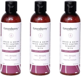 Greenberry Organics Argan & Onion Frizz Control Shampoo with Amla,Bhringraj & Liquorice Extracts with Rice,Apple & Keratine Extracts,200 g Pack Of 3