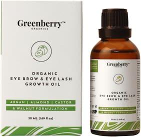Greenberry Organics Organic Eyebrow & Eye Lash Growth Oil,Aragan,Almond,Castor & Walnut Super Formula,Soothing & Growth,All Skin Types,50 ml