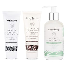 Greenberry Organics Deep Face Ceansing & Moisturising Combo with 99% Pure Aloe Veragel;Detox Charcoal Face Wash & Tan Removing & Exfoliating Scrub (Pack Of 3)