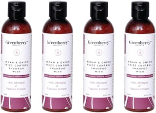 Greenberry Organics Argan & Onion Frizz Control Shampoo with Amla,Bhringraj & Liquorice Extracts with Rice,Apple & Keratine Extracts,200 g Pack Of 4