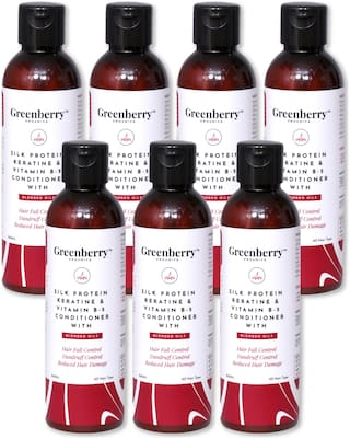 Greenberry Organics Silk Protein,Keratin & Vitamin B-5 Conditioner with Blended Oils for Hair Fall Control,Dandruff Control,Reduced Hair Damage - 200 g Pack Of 7