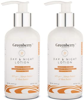 Greenberry Organics Day & Night Lotion with SPF 40+ 200 ml (Pack of 2)