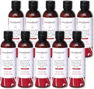 Greenberry Organics Silk Protein,Keratin & Vitamin B-5 Conditioner with Blended Oils for Hair Fall Control,Dandruff Control,Reduced Hair Damage - 200 g Pack Of 10