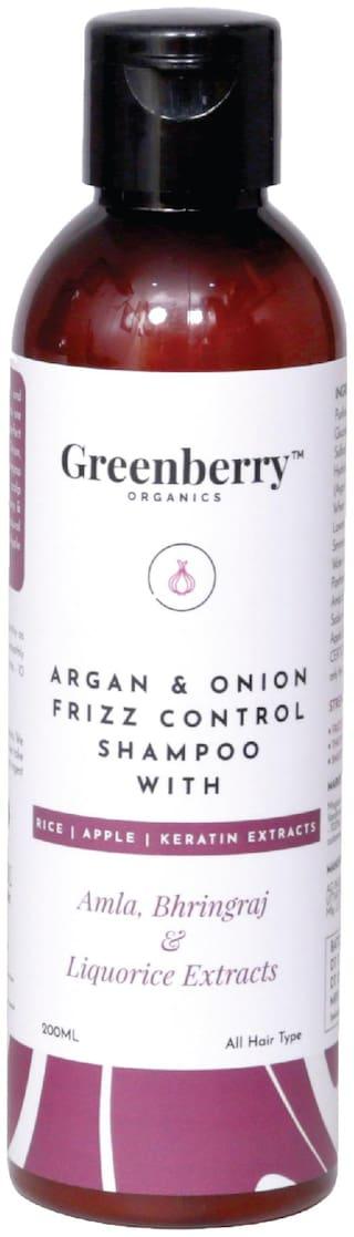 Greenberry Organics Argan & Onion Frizz Control Shampoo with Amla,Bhringraj & Liquorice Extracts with Rice,Apple & Keratine Extracts,200 g