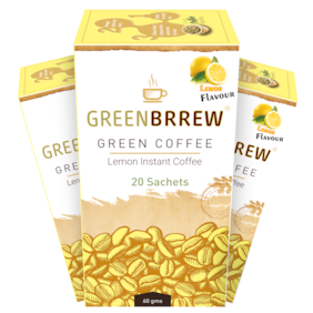 GreenBrrew Green Coffee Beans Extract for Weight LossLemon Instant Coffee (3 x 60 g) Pack of 3