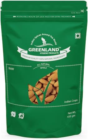 GREENLAND Almonds (Badam) 900 gm -Premium Grade (Pack of 2, Each 450 gm) -Premium Grade