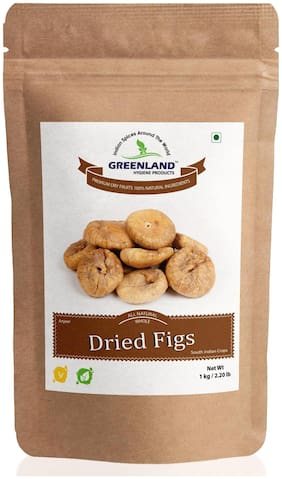 GREENLAND Dried Figs (Anjeer) 1 kg -Premium Grade (Pack of 2, Each 500 g)
