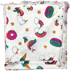 GreenTwish Soft Cotton, Cartoon Printed, All Season AC Shawl for Kids, Size: 2.5m, Multi-Color (Unicorn Theme)