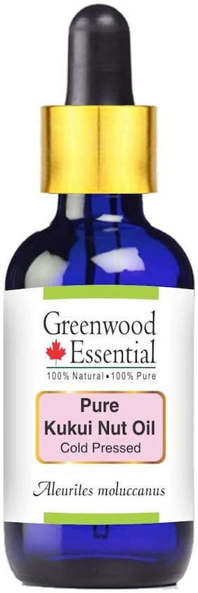 Greenwood Essential Pure Kukui Nut Oil (Aleurites moluccanus) with Glass Dropper 100% Natural Therapeutic Grade Cold Pressed 100ml