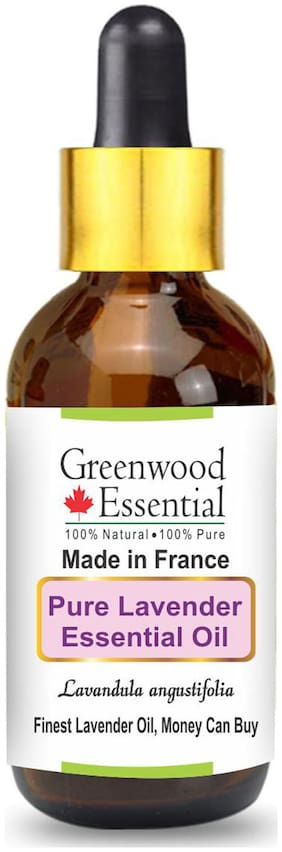 Greenwood Essential Pure Lavender Essential Oil (Lavandula angustifolia) (Made in France) with Glass Dropper 100% Natural Therapeutic Grade Steam Distilled Finest Lavender Oil, Money Can Buy 100ml