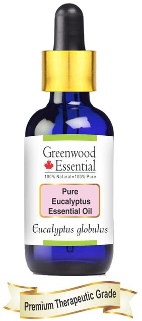 Greenwood Essential Pure Eucalyptus Essential Oil (Eucalyptus Globulus) With Glass Dropper 100% Natural Therapeutic Grade Steam Distilled 50Ml