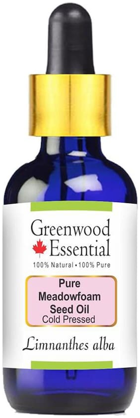 Greenwood Essential Pure Meadowfoam Seed Oil  (Limnanthes alba) with Glass Dropper 100% Natural Therapeutic Grade Cold Pressed 30ml