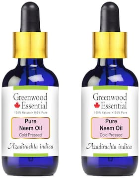 Greenwood Essential Pure Neem Oil (Azadirachta indica) with Glass Dropper 100% Natural Therapeutic Grade Cold Pressed 100ml (Pack of 2)
