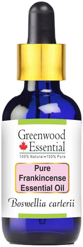 Greenwood Essentials Pure Frankincense Essential Oil (Boswellia carterii) with Glass Dropper 100% Natural Therapeutic Grade Steam Distilled 10ml