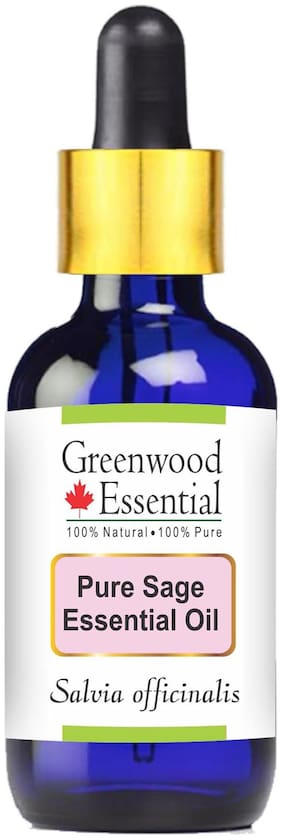 Greenwood Essential Pure Sage Essential Oil (Salvia officinalis) with Glass Dropper 100% Natural Therapeutic Grade Steam Distilled 50ml