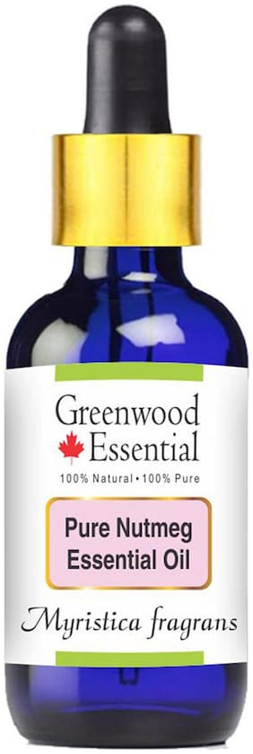 Greenwood Essential Pure Nutmeg Essential Oil (Myristica fragrans) with Glass Dropper 100% Natural Therapeutic Grade Steam Distilled 50ml