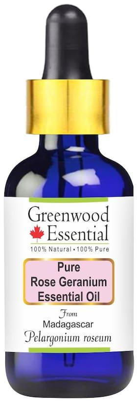 Greenwood Essential Pure Rose Geranium Essential Oil (Pelargonium roseum) with Glass Dropper 100% Natural Therapeutic Grade Steam Distilled (50ml)