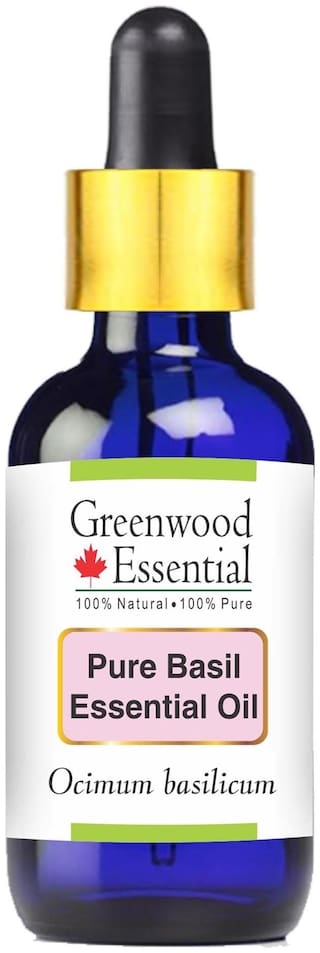 Greenwood Essential Pure Basil Essential Oil (Ocimum basilicum) with Glass Dropper 100% Natural Therapeutic Grade Steam Distilled 50ml