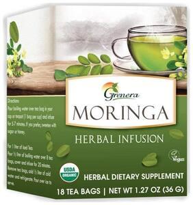 Grenera Moringa Herbal Infusion - 18 Tea Bags/Box