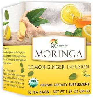 Grenera Moringa Lemon Ginger Infusion - 18 Tea Bags/Box