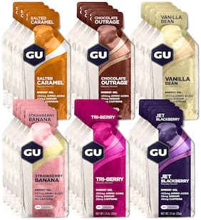 GU Energy Original Sports Nutrition Energy Gel Assorted Mixed Fruit Flavors 32g (Pack of 24)