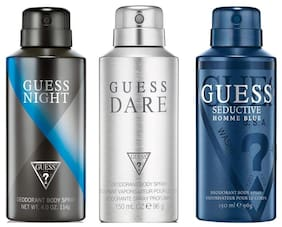 Guess Night Seductive Home Blue Dare Deodorant Spray - For Men (450 ml Pack of 3)