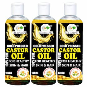 GULBADAN Naturals Cold-Pressed 100% Pure Castor Oil Hair Oil (100 ml) (Pack of 3)