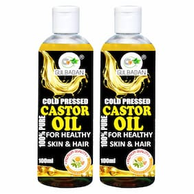 GULBADAN Naturals Cold-Pressed 100% Pure Castor Oil Hair Oil (100 ml) (Pack of 2)