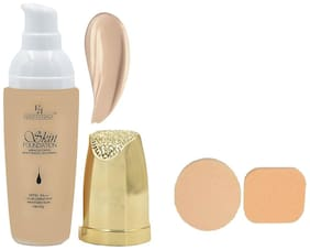 Half N Half Skin Foundation Miracle Touch Mositurizing Whitening Spf50 45g With Cosmetic Powder Puff 20g (Pack Of 1)