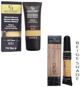 Half N Half Mineral Mousse Oil Free Spf 20 (Natural Shade) And Pro Concealer (Beige Shade No 5) (Pack of 2)