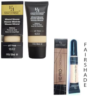 Half N Half Mineral Mousse Oil Free Spf 20 (Fair Shade) And Pro Concealer (Fair Shade No 1) (Pack of 2)