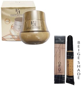 Half N Half Illuminating Foundation With Skin Highlighter & Toner 65ml (Natural Beige Shade No 1)And Pro Concealer 8g  (Beige Shade)(Pack of 2)