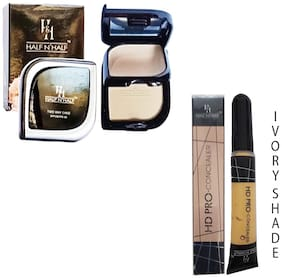 Half N Half Two Way Compact Powder & Pancake Spf 20-24g And Pro Concealer 8g  (Ivory Shade No 4) (Pack of 2)