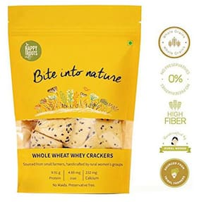 Happy Roots Crackers - Pure  Whole Wheat & Whey  With Edible Seeds 125 gm