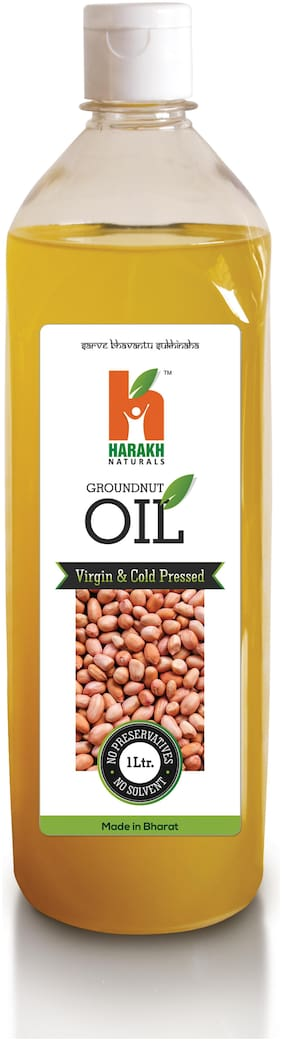 Harakh Naturals Cold Pressed Groundnut Oil 1 Liters (Wood Pressed - Extracted on Wooden Churner)