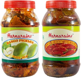 Harnarains Combo of Mango Pickle (400g) and Red Stuffed Chilli Pickle (400g)