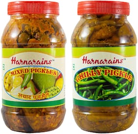 Harnarains Combo of Mixed Pickle (400g) and Green Chilli Pickle (400g)