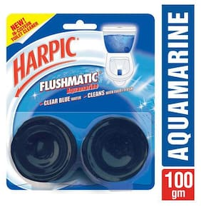 Harpic Cistern Block - Flushmatic  Toilet In  Twin Aquamarine 100 g