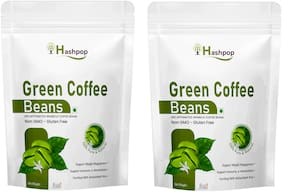 Hashpop Green Coffee Beans for Weight Loss Management Instant Coffee 1 kg Pack of 2