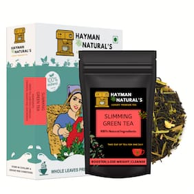 HAYMAN NATURAL'S Slimming Green Tea (28 Cups) For Weight Loss and Belly Fat Made with Garcinia Cambogia, Lemongrass-100% Natural-50g